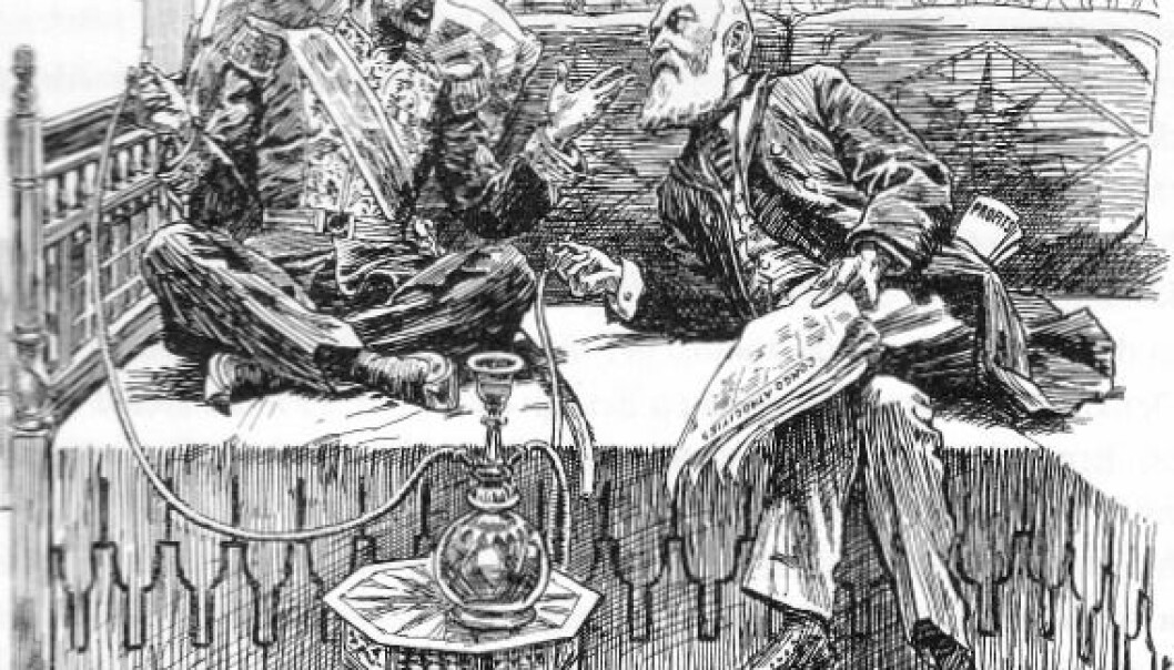 "Karikatur hentet fra satirebladet Punch, London, 31. mai 1905. Tegningen viser sultan Abdul Hamid II og Kong Leopold av Belgia i samtale:Leopold: ""Silly fuss they're making over these so-called atrocities in my Congo property.""Abdul: ""Only talk, my Dear Boy. They won't do anything. They never touched me""."