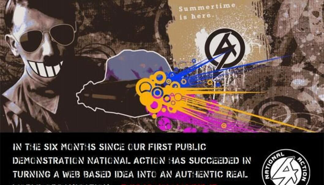 National Action sin visuelle stil – her med Hitler i solbriller – gjorde sitt til at dei også vart omtala med nyordet «nipsters», ei forkorting av nazi hipsters.