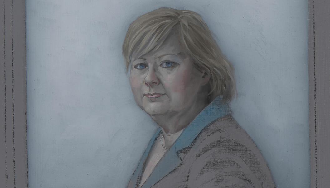 Erna Solberg, portrettert av Christopher Rådlund