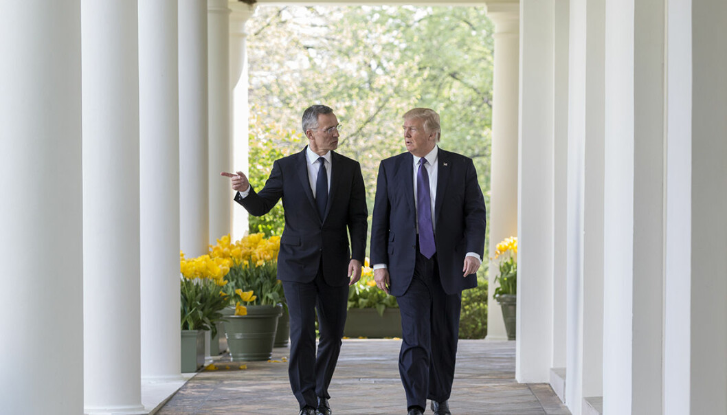 President Donald Trump and NATO Secretary General Jens Stoltenberg walk along the West Colonnade of the White House, Wednesday, April 12, 2017. (Official White House Photo by Shealah Craighead)