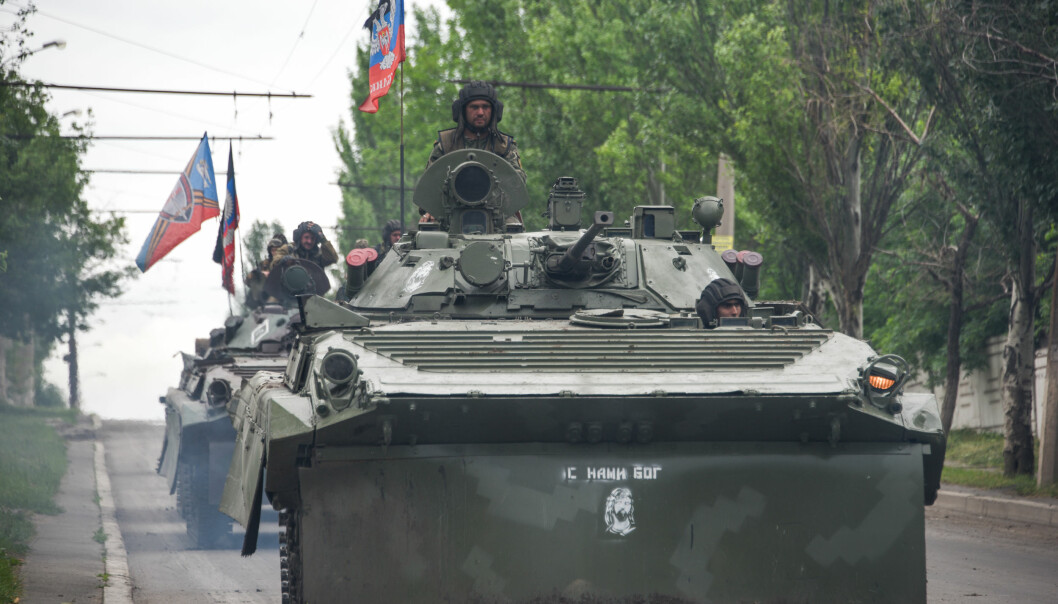 A Russia-backed rebel armored fighting vehicles convoy near Done