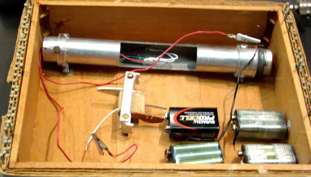 En FBI-reproduksjon av en av Ted Kaczynskis bomber som er utstilt ved Newseum, Washington, D.C.