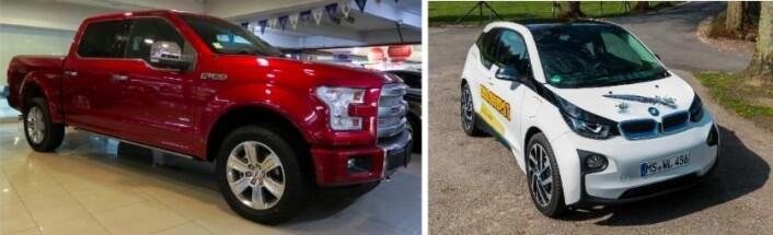 Ford F-150 og BMW i3 er ikkje like store