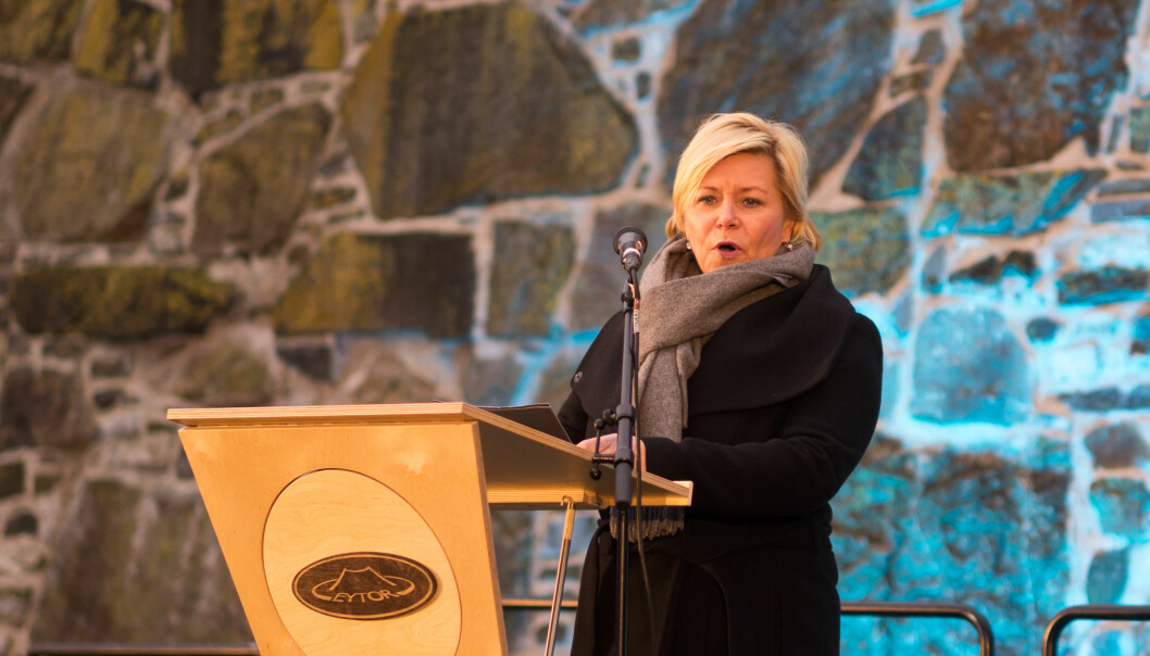 Siv Jensen holdt appell under Holocaustdagen i Oslo 27. jaunar 2017. Foto: Helge Øgrim