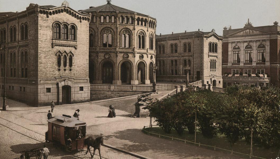 Stortinget sent på 1800-tallet. Nasjonalbiblioteket.