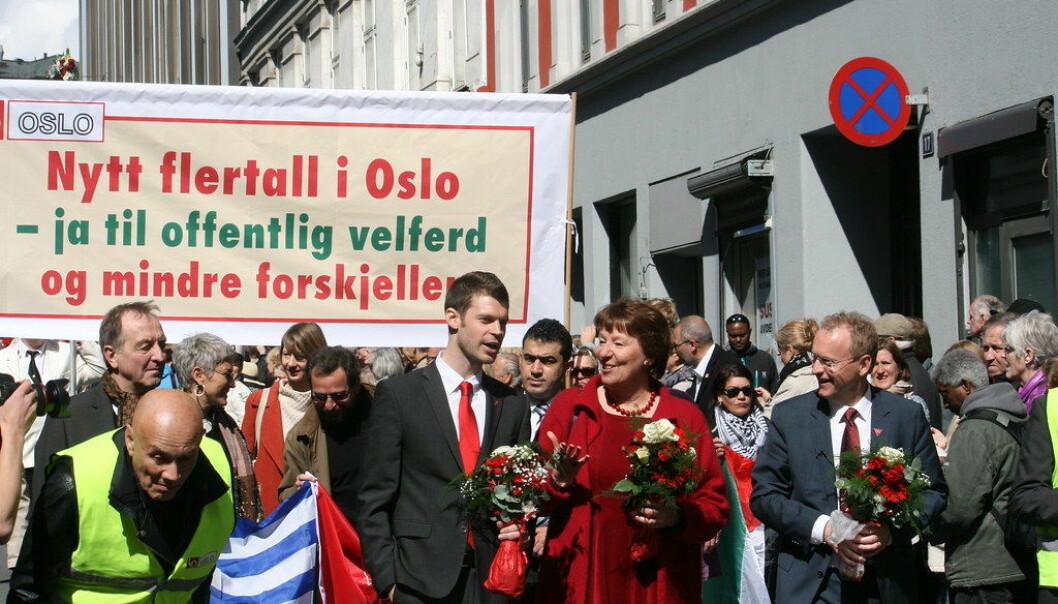 Bjørnar Moxnes (Rødt), Marianne Borgen (SV) og Raymond Johansen (Ap) 1. mai 2015. Foto: GGAADD/Flickr (CC BY-SA 2.0)