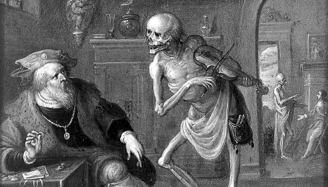 Døden og gnieren. Oljemaleri av Frans II van Francken (Wellcome L0011047.jpg)
