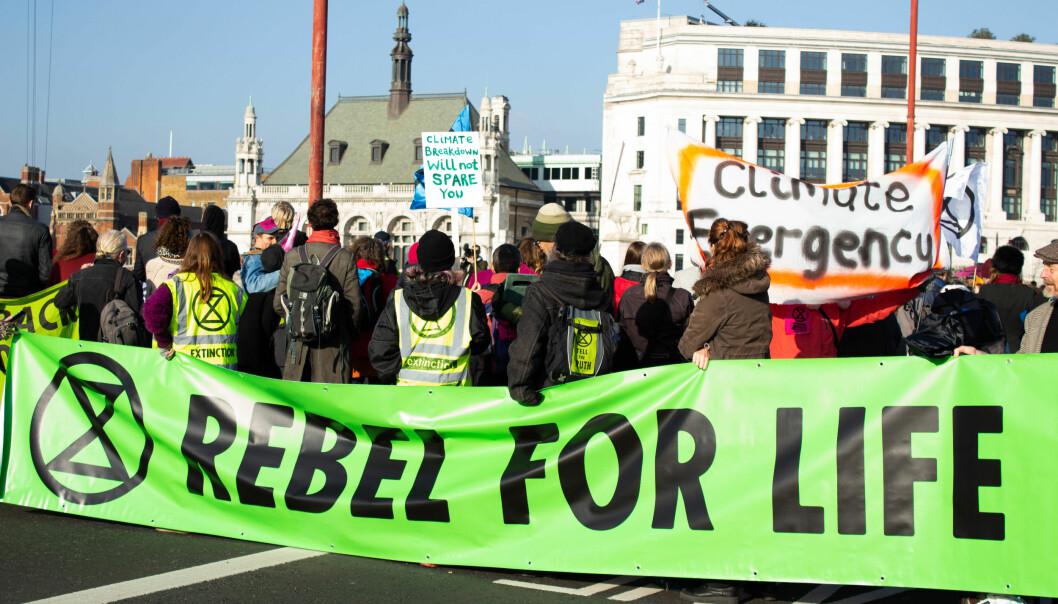 Demonstranter fra Extinction Rebellion i London. Foto: Julia Hawkins