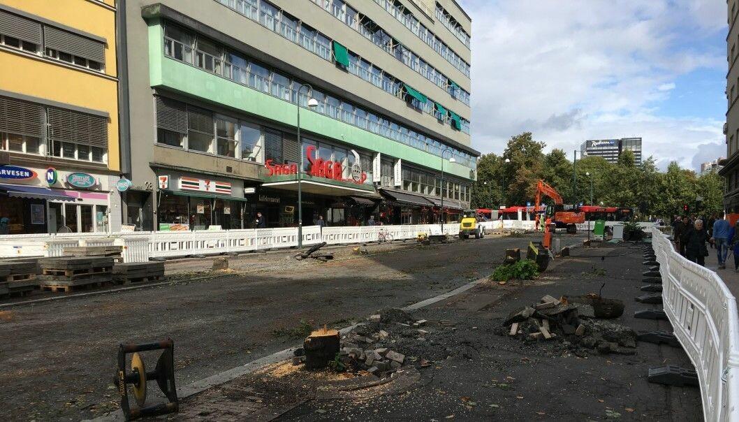 Olav Vs gate etter felling av trær. Foto: Aksel Fridstrøm.