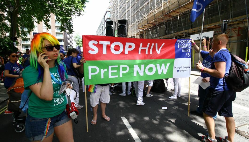 PrEP er et populært legemiddel blant menn som har sex med menn for å unngå HIV-smitte. Bildet er fra London Pride 2015. Foto: Graham Ó Síodhacháin/Wikimedia Commons (CC BY-SA 2.0)
