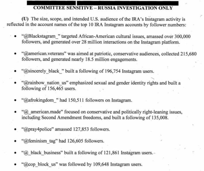 Faksimile fra det amerikanske senatets rapport om russisk valgpåvirkning