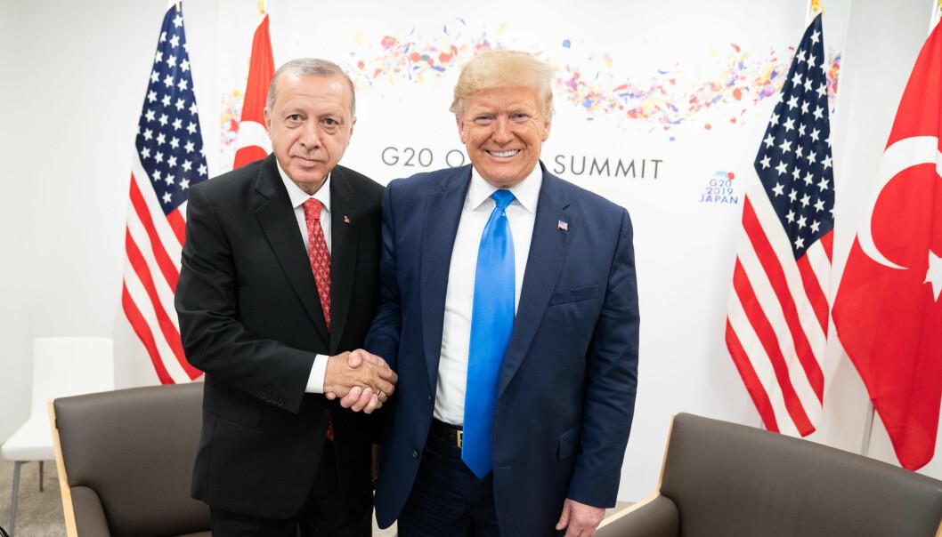 Donald Trump og Tayyip Erdogan på G20-møte i Osaka. Foto: Det Hvite Hus