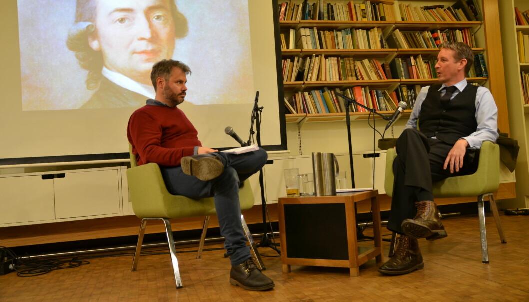Foredraget om Herder ble fulgt av en diskusjon mellom Asle Toje og redaktør i Minerva, Nils August Andresen. Foto: Anne Viken.