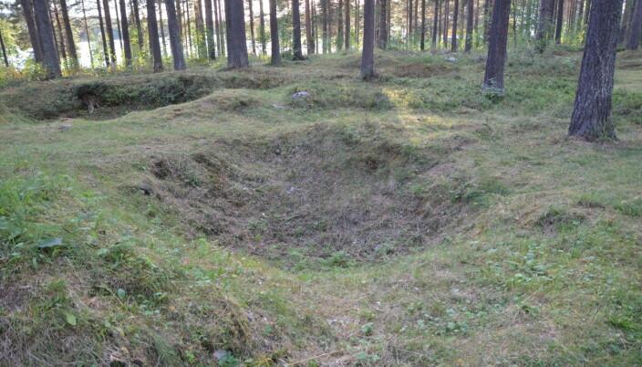 Restene av kirkebyen i Jokkmokk der samene måtte bo mens de var i kirken.