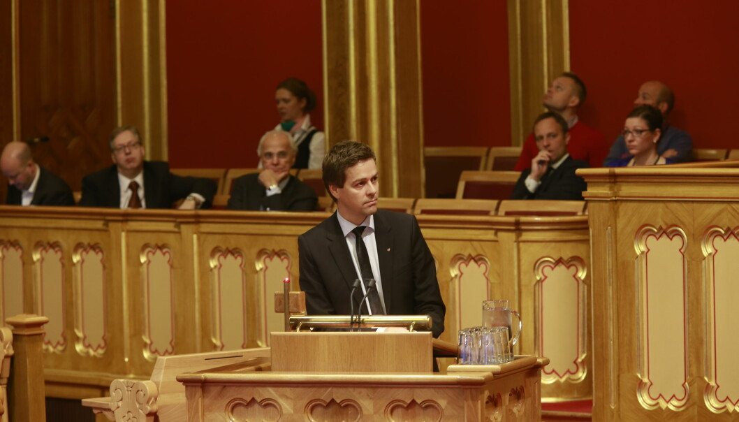 Knut Arild Hareide under stortingets trontaledebatt. Foto: Stortinget