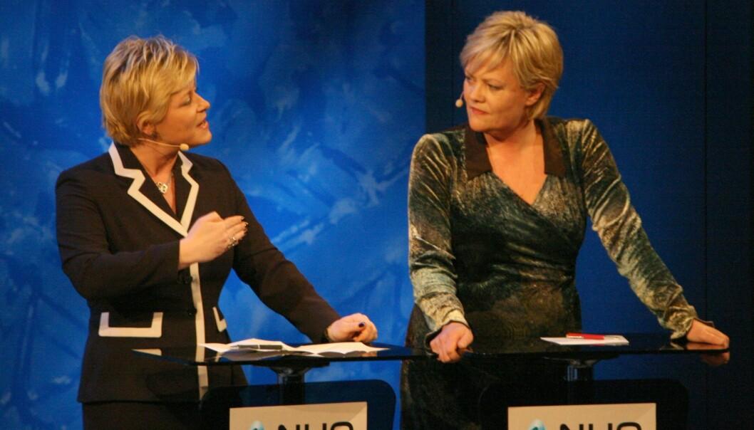 Daværende finansminister Kristin Halvorsen debatterer kommende finansminister Siv Jensen på NHOs årskonferanse i 2008. Foto: Kjetil Ree