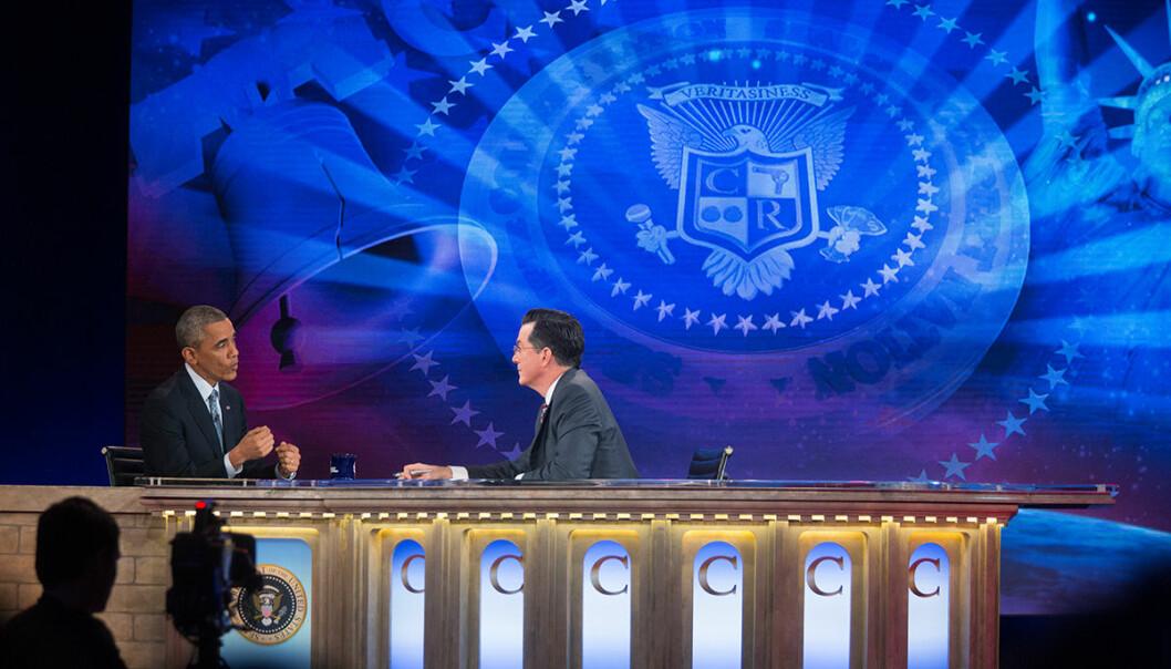 I programmet «The Colbert Report» spilte Stephen Colbert en konservativ talkshow-vert basert på Bill O'Reilly fra Fox News. Mange lot seg lure av Colberts karakter ved samme navn. Foto: Pete Souza/Official White House Photo