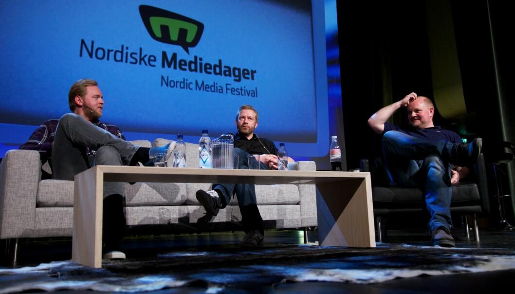 Tore Sagen (venstre) i Radioresepsjonen var forrige uke i hardt vær etter at et innslag i programmet ble anklaget for å være rasistisk. Innslaget ble fjernet fra NRKs nettsider. Foto: Eirik Helland Urke/Flickr (CC BY-SA 2.0)