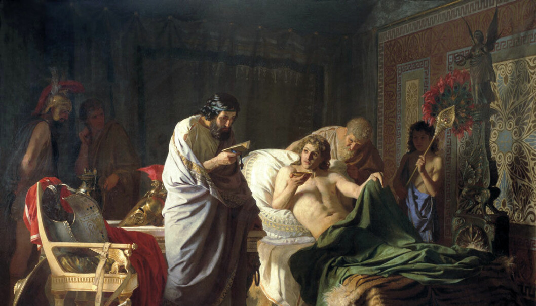 Henryk Siemiradzkis maleri av Aleksander den store og doktor.