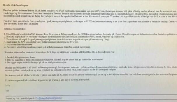 Brev fra Psykologforeningens president, Tor Levin Hofgaard. Skjermdump.