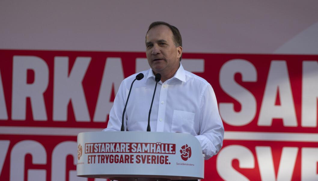 Sveriges statsminister Stefan Löfven under Almedalsveckan i 2018