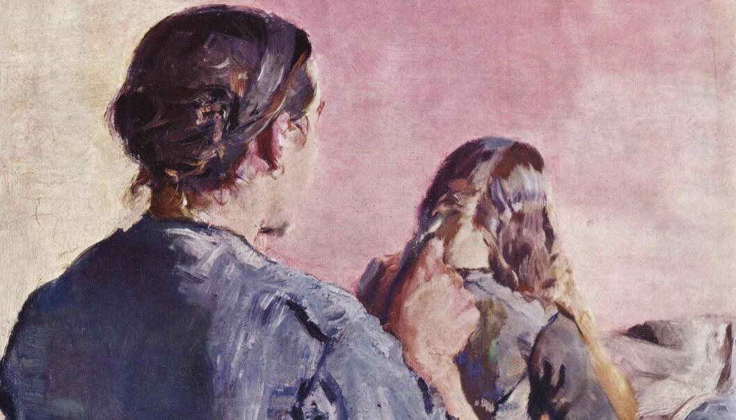 Utsnitt, «Håret flettes» av Kristian Krohg (1888)
