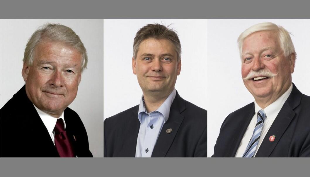 Carl I. Hagen, Jan Steinar Engeli Johansen og Knut Magne Flølo mister plass på Stortinget når Frp nå går ut av regjering.