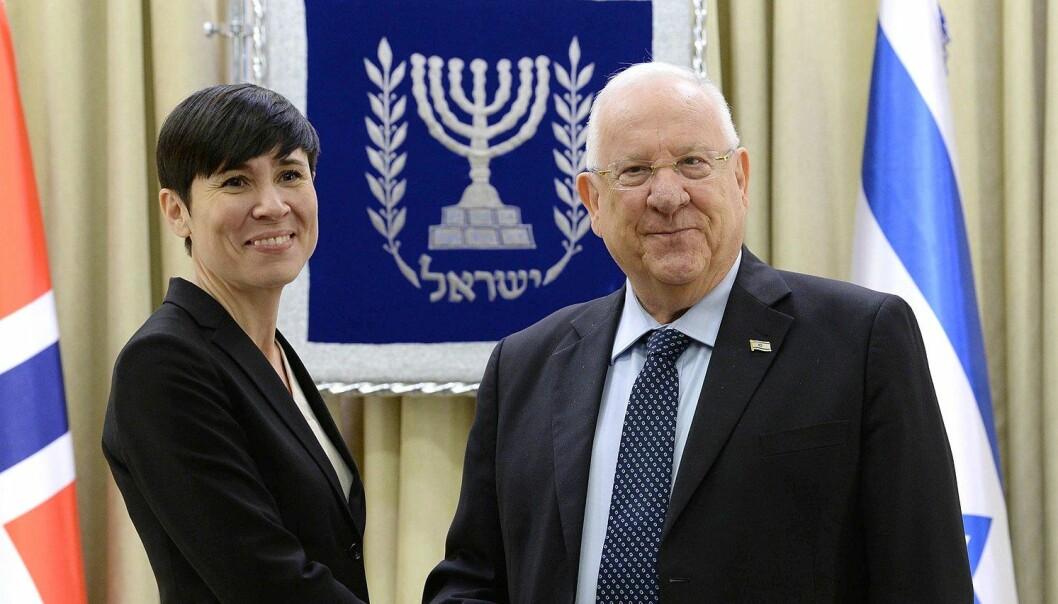 Kun en forhandlet tostatsløsning mellom Israel og Palestina kan skape fred mellom partene, sier utenriksminister Ine Eriksen Søreide.