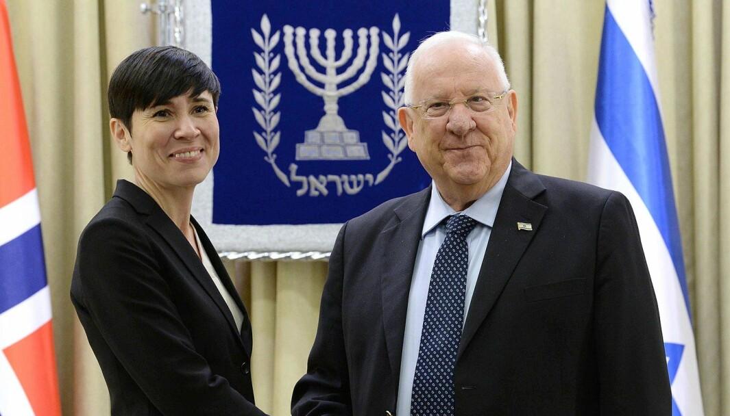 Utenriksminister Ine Eriksen Søreide med Israels president Reuven Rivlin