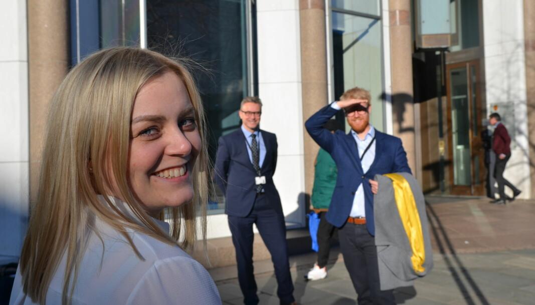 Olje- og energiminister Tina Bru med fiskeri- og sjømatminister Odd Emil Ingebrigtsen og statssekretær Tony Christian Tiller.