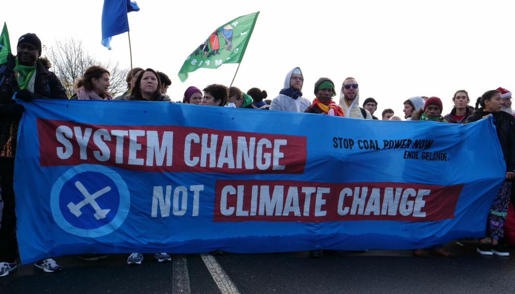 Gruppen bak rapporten inngår i den internasjonale «System change, not climate change»-bevegelsen. Her fra en demonstrasjon i Tyskland i 2017.