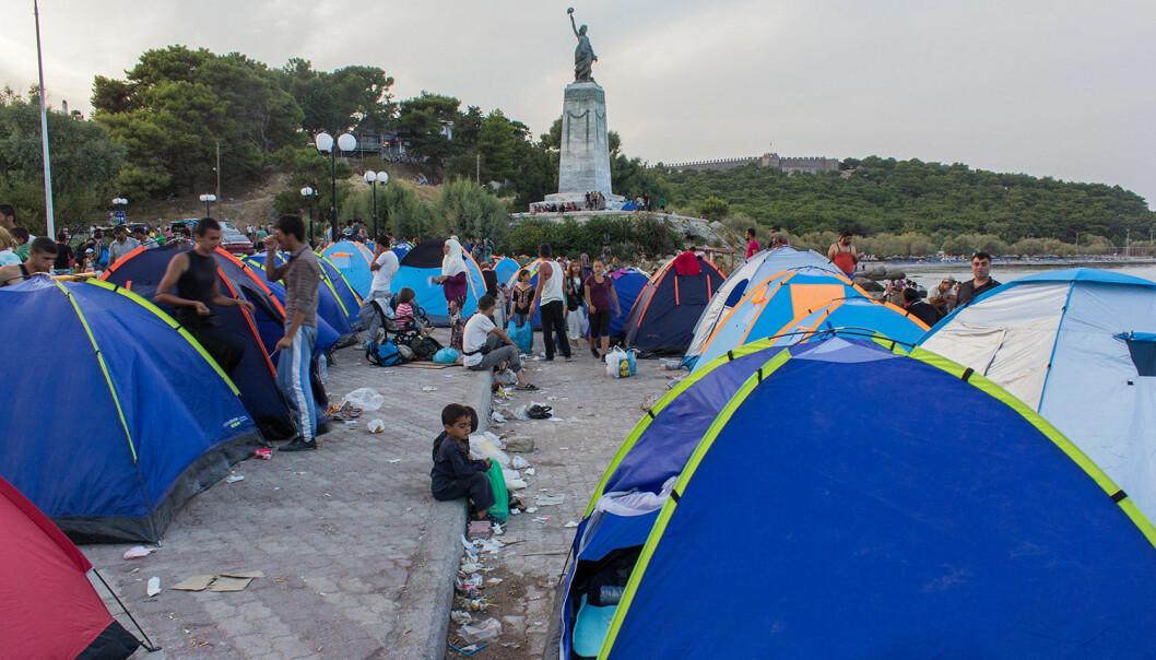 Flyktninger på Lesvos i Hellas