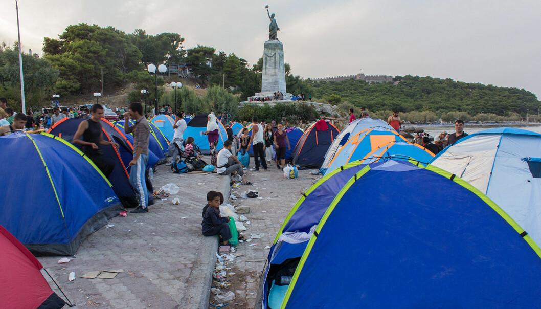 Flyktningleir i Mytilene på den greske øya Lesvos.