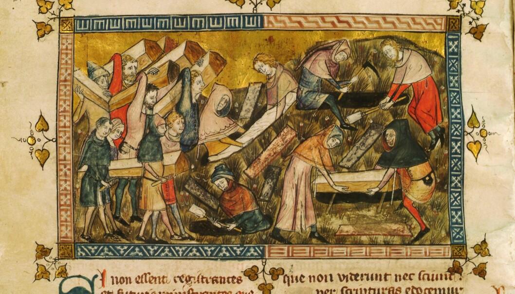 Ofre fra pesten blir begravet.