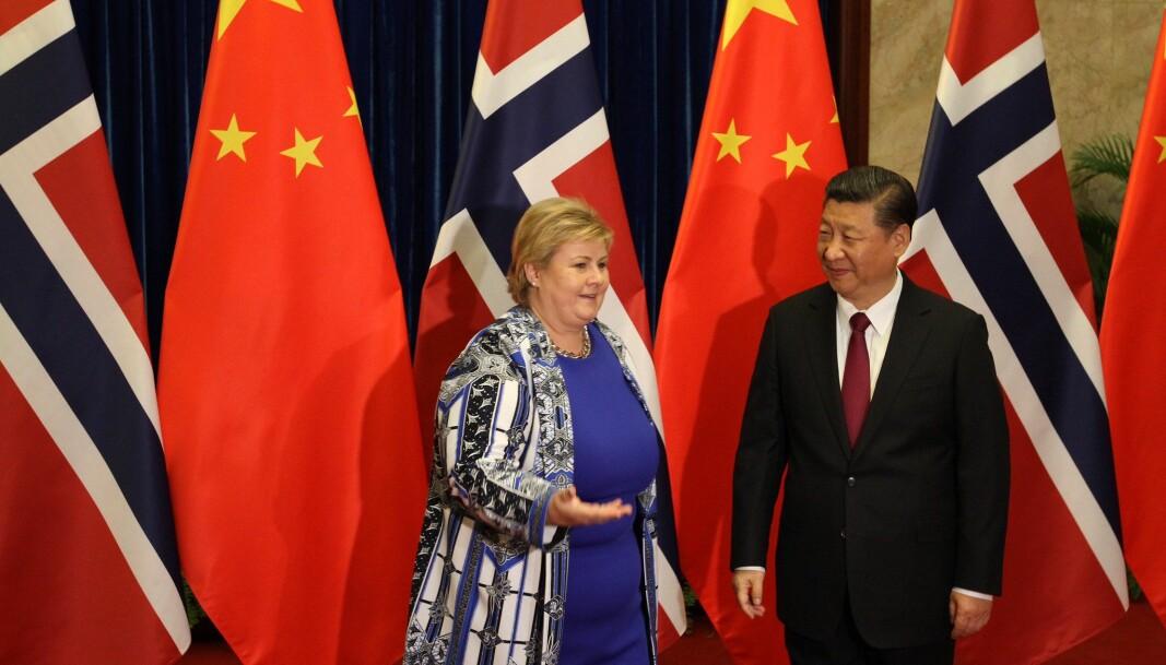 Norges statsminister Erna Solberg og Kinas president Xi Jinping under et møte i Folkets store hall i Beijing 10. april 2017.