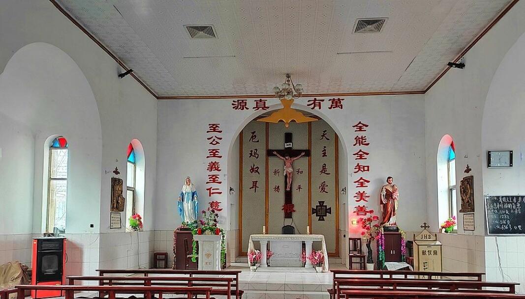 Kristne kirker undertrykkes av myndighetene i Kina. Her Maozhuang katolske kirke.