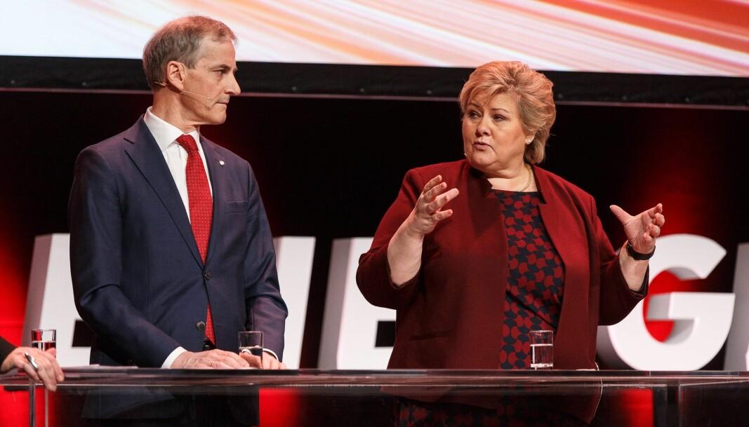 Jonas Gahr Støre og Erna Solberg
