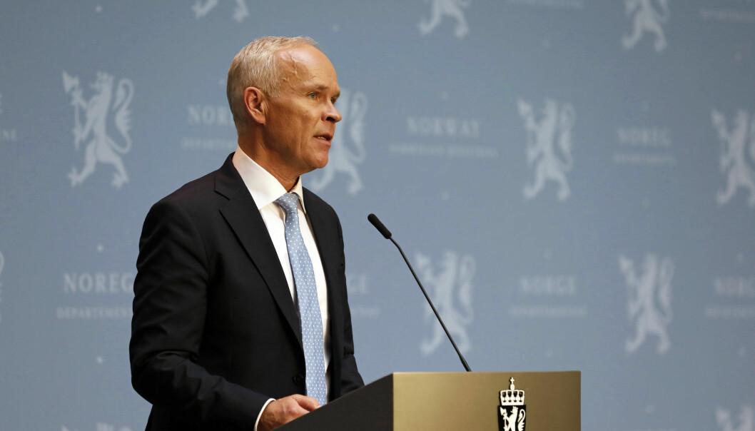 Finansminister Jan Tore Sanner (H) holder pressekonferanse om statsbudsjettet 2021.