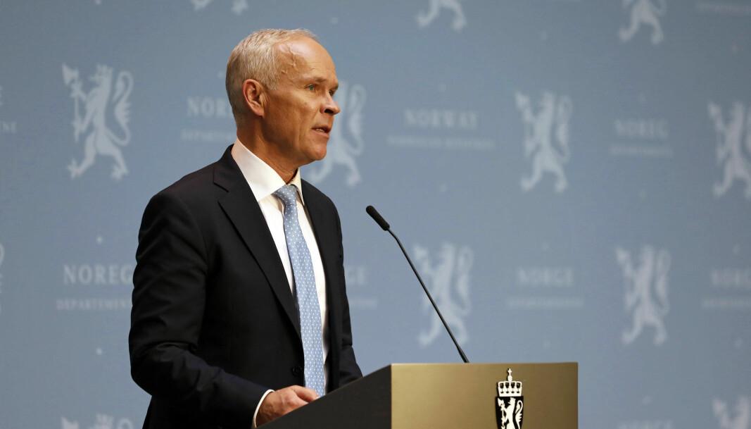 Finansminister Jan Tore Sanner holder pressekonferanse om statsbudsjettet 2021.