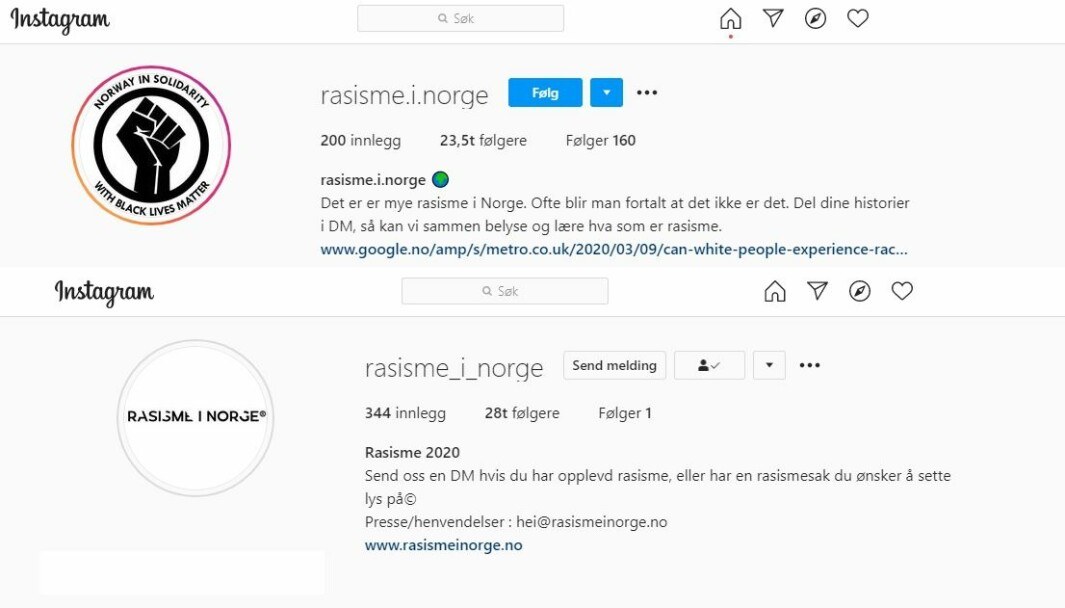 Instagram-kontoene rasisme.i.norge og rasisme_i_norge oppfordrer følgerne sine til å dele historier og saker om rasisme.