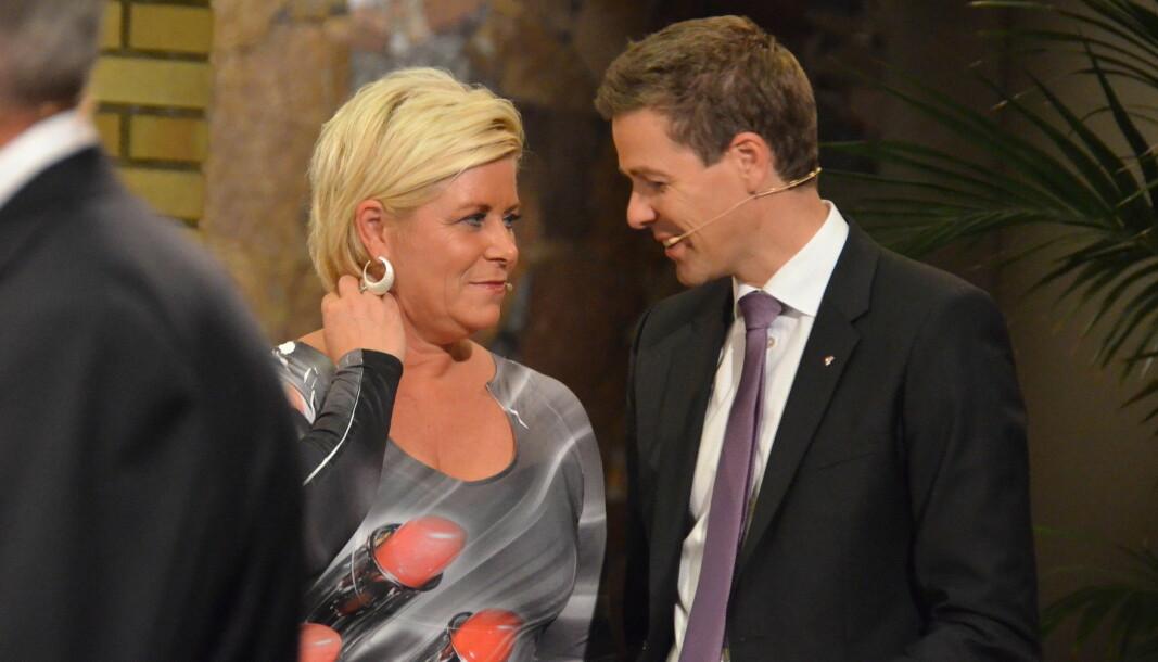 Siv Jensen i den berømte «Morna, Jens»-kjolen valgnatten 2013.