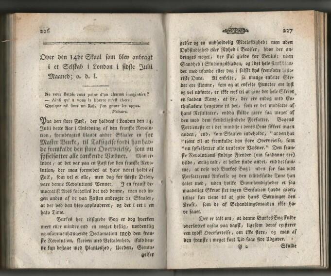 De innledende sidene av Prams essay i Minerva, 1791.