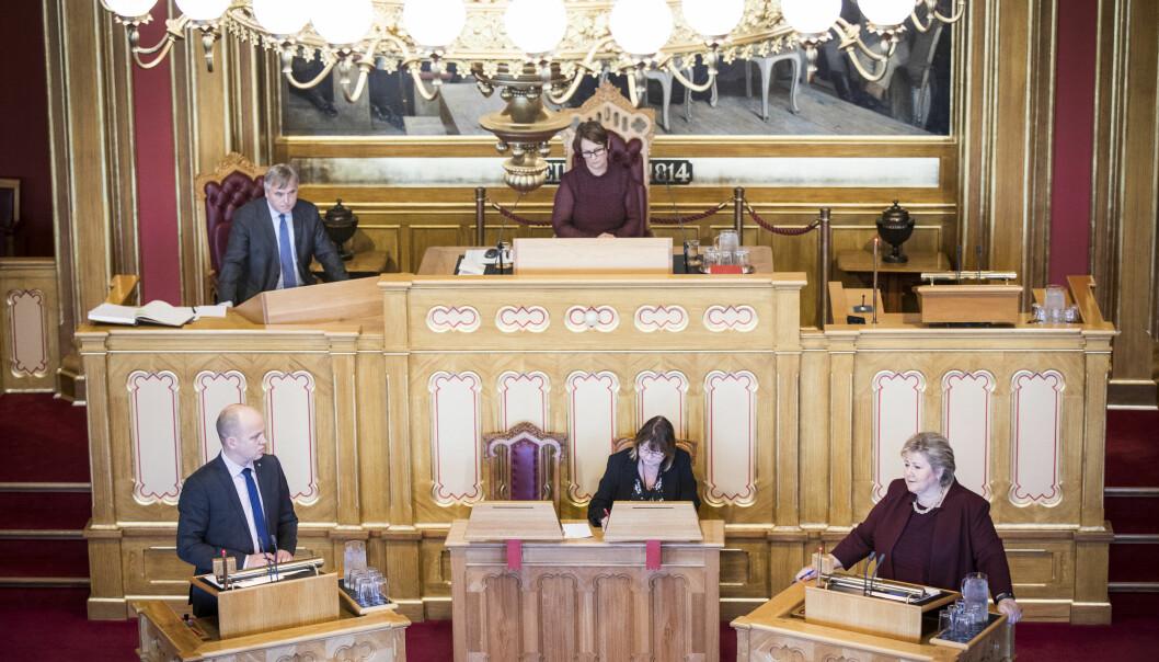 Trygve Slagsvold Vedum og Erna Solberg i Stortingets spørretime