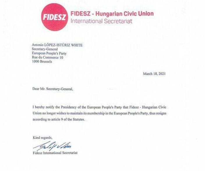 I et brev sendt 18. mars 2021 til EPPs generalsekretær erklærte Fidesz at partiet trakk seg ut av partisammenslutningen.