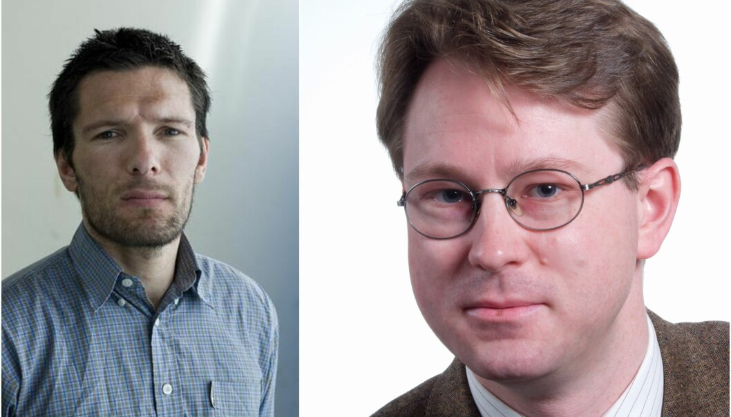 En professor i gresk ved UiB (Gjert Vestrheim, til høyre) slakter boken til en professor i historie ved UiB (Leidulf Melve, til venstre).