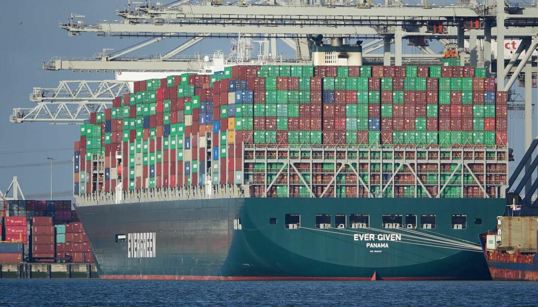Ever Given i Rotterdam havn i mars 2020.