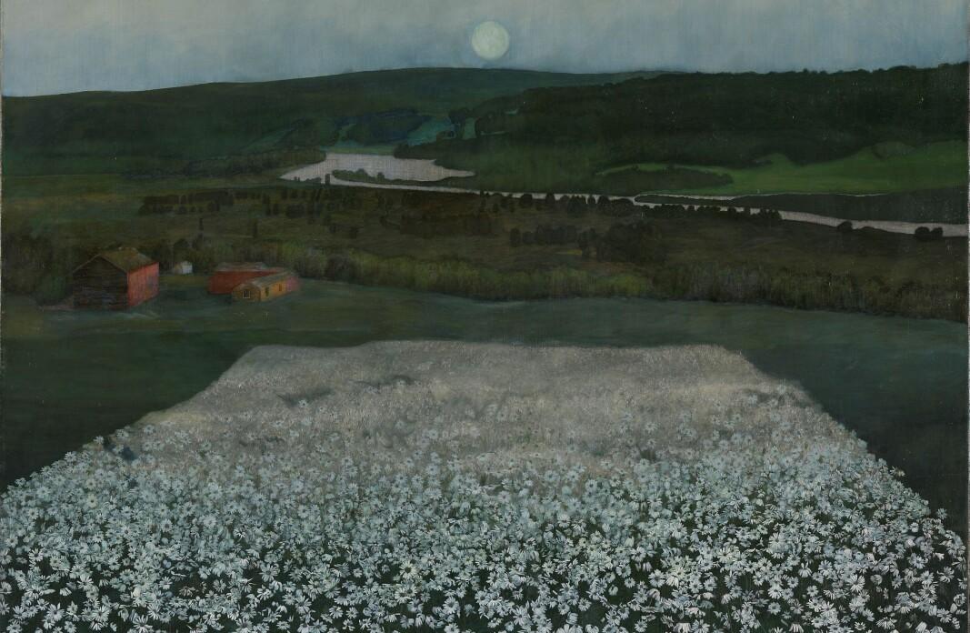 Harald Sohlberg, «En blomstereng nordpå» (olje på lerret, 1905)