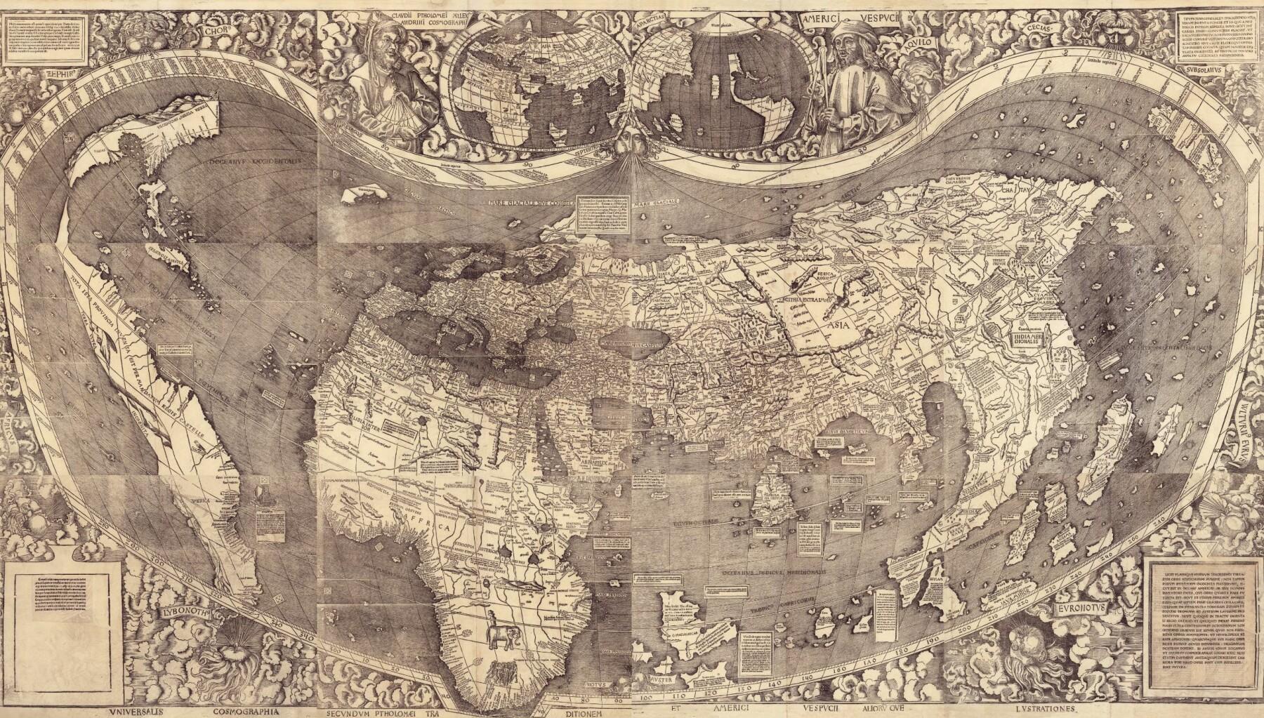 Verdens første kart der Amerika er tegnet som et eget kontinent og har fått navn. Det ble tegnet i 1507, seks år før den første europeeren faktisk så Stillehavet.