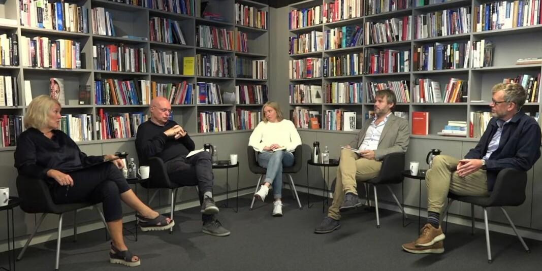 Kristin Clemet, Bjørgulv Braanen, Tone Sofie Aglen, Nils August Andresen og Kjetil Alstadheim under tirsdagens Civitafrokost.