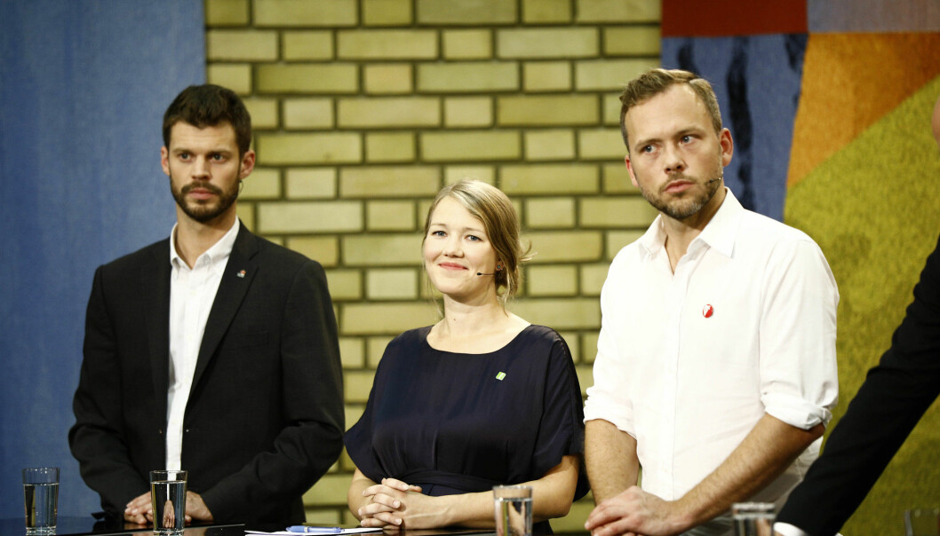 Bjørnar Moxnes (Rødt), Une Bastholm (MDG) og Audun Lysbakken (SV) valgnatten 2017